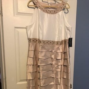 Taupe and off-white satin finish formal dress
